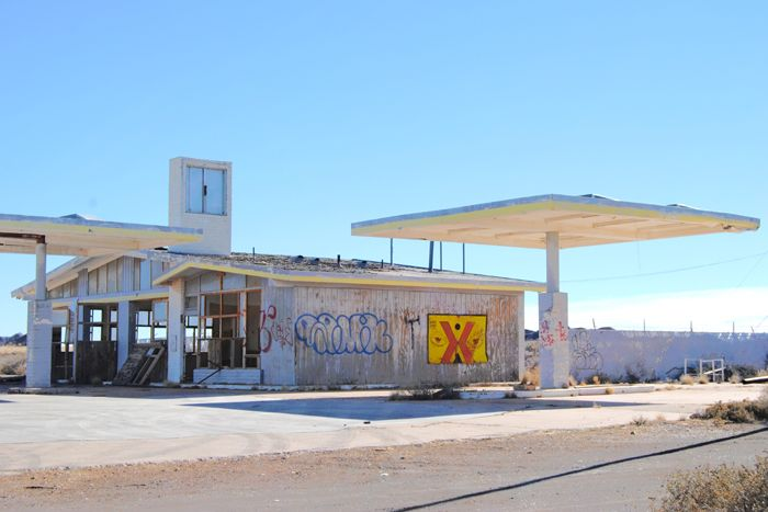 An old gas station at Two Guns, Arizona by Kathy Weiser-Alexander.