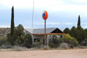 Old 76 Service Station in Valentine, Arizona. It was here that the post office was stood. Photo by Kathy Weiser-Alexander.