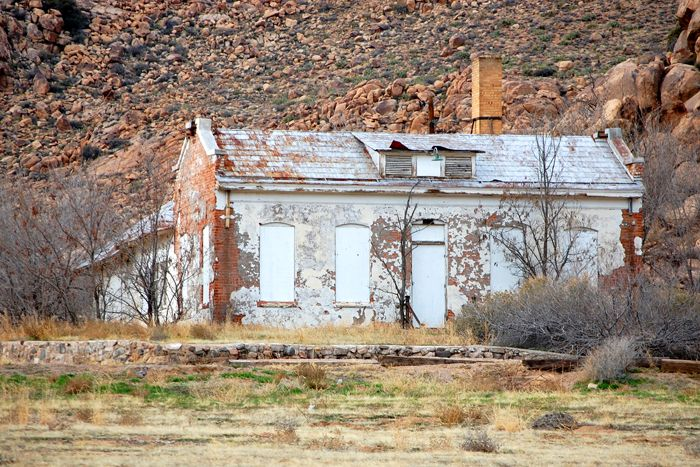 """The """"Red Brick School"""" in Valentine, Arizona by Kathy Weiser-Alexander."""