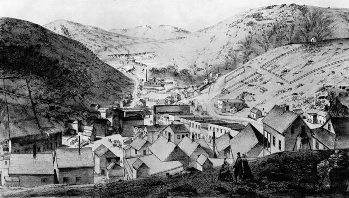 Central City, Colorado looking up Spring Gulch, by A.E. Mathews, 1860.