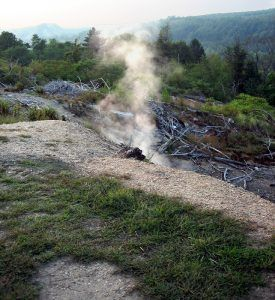 Smoke seeps from the ground in Centralia, Pennsylvania, courtesy Wikipedia.