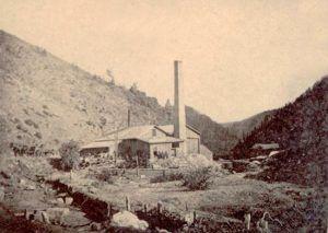 Clear Creek Canyon Smelter near Blackhawk by Albert S. McKinney, about 1870.