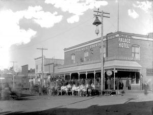 Stagecoach at the Palace Hotel in Cripple Creek, Colorado about 1894.