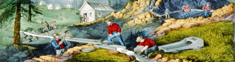 Gold Mining in California by Currier & Ives.