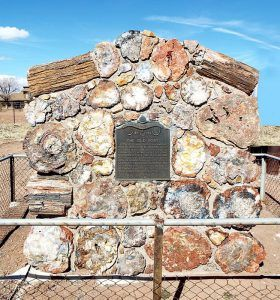 Marker at the site of the old Mormon fort in Joseph City, Arizona.