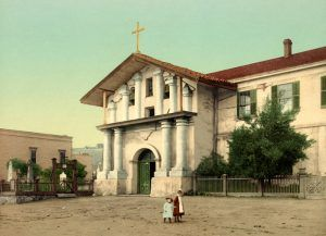 Mission Delores in San Francisco, California by Detroit Publishing, 1898.