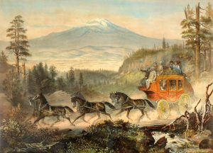 Overland Mail stagecoach in the mountains by Rey & Britton.