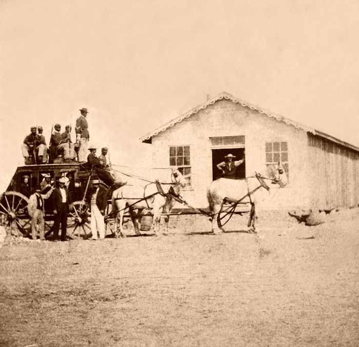 Overland Stage in Hays, Kansas by Alexander Gardner, 1867.