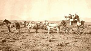 Stagecoach on the Overland Trail near Laramie, Wyoming.