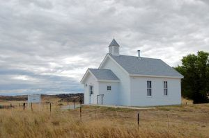 Church at Virginia Dale, Colorado by Kathy Weiser-Alexander.