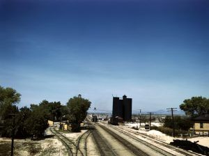 Santa Fe Railroad through Yucca, Arizona by Jack Delano, 1943.