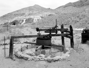 An Arrastra is a primitive mill for grinding and pulverizing gold or silver ore.