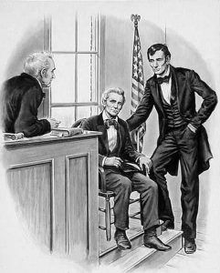Abraham Lincoln in court in Illinois in 1841.