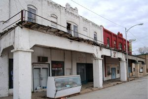 Downtown buildings in Afton, Oklahoma today by Kathy Weiser-Alexander.
