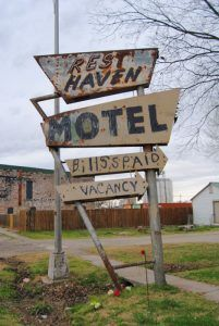 Old sign for the Rest Javem Motel by Kathy Weiser-Alexander.