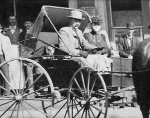 Al Swearengen in a buggy in Deadwood, South Dakota.