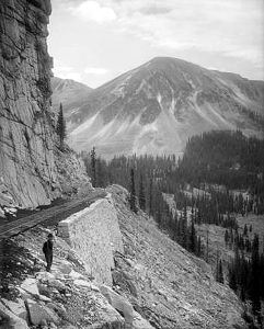 The Palisades on Alpine Pass on the way to Alpine Tunnel by Louis C. McClure, about 1910.