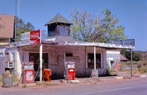This old Gibble Gas Station in Arcadia, Oklahoma is long gone today. Photo by John Margolies, 1979.