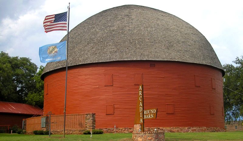 Round Barn in Arcadia, Oklahoma by Kathy Weiser-Alexander.