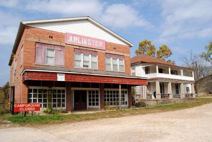 Old hotel and another building in Arlington, Missouri by Kathy Weiser-Alexander.