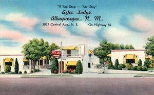 Aztec Lodge, Albuquerque, New Mexico postcard from the 1950s.