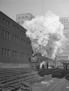 Pennsylvania Railroad in Chicago, Illinois by Jack Delano, 1943.