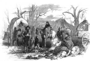 Civil War refugees take shelter in the Union camps in Rolla, Missouri by Frank Leslie's Illustrated Newspaper, 1862.