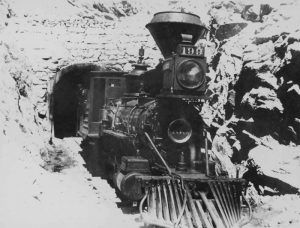 Denver, Leadville &  Gunnison Railroad coming through the Alpine Tunnel in about 1910.
