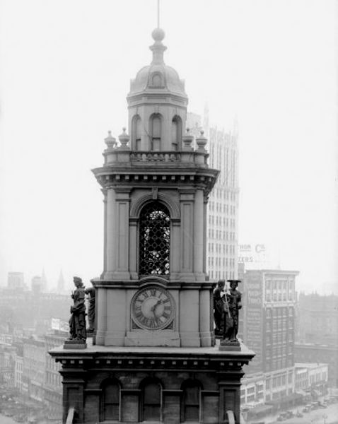 Old City Hall Tower in Detroit, Michigan.