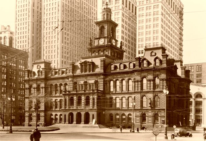 Old City Hall in Detroit, Michigan, 1934.