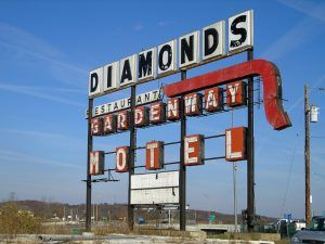 Large sign in Gray Summit, Missouri that advertised the Diamonds Restaurant and the Gardenway Motel by Kathy Weiser-Alexander.