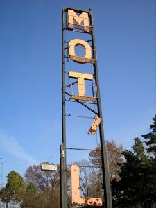An old sign for the now closed Trail's End Motel on Route 66 by Kathy Weiser-Alexander.