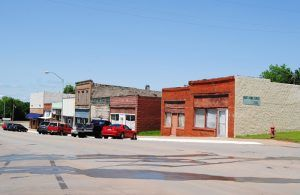 Businesses in downtown Luther, Oklahoma by Kathy Weiser-Alexander.