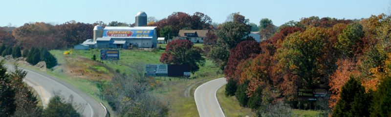 Watch for the large barn that advertises Meramec Caverns between St. Clair and Stanton, Missouri. Photo by Kathy Weiser-Alexander.