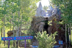 Mount Rockmore at Bedrock City, Custer, South Dakota, by Tbennert, Wikipedia.