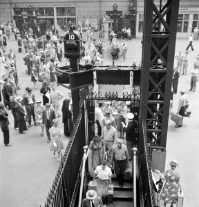 Train Gate at Penn Station, new York City by Marjory Collins, 1942.