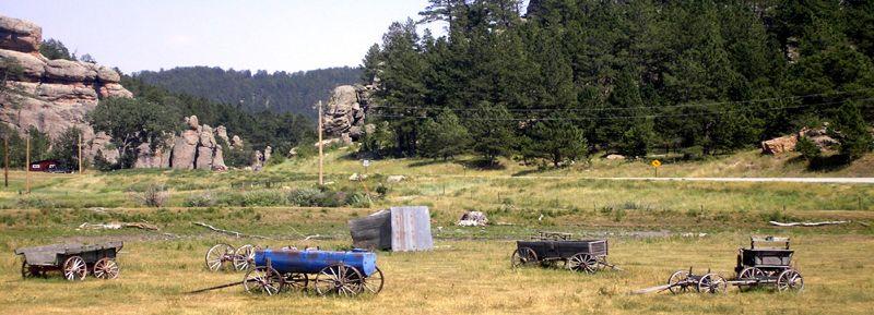 Wagons in Pringle, South Dakota by Kathy Weiser-Alexander.