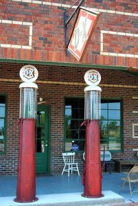 Gas pumps at Seaba Station on Route 66 in Warwick, Oklahoma by Kathy Weiser-Alexander.
