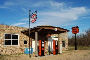 Restored Phillips 66 station on Route 66 in the ghost town of Spencer, Missouri. Photo by Kathy Weiser-Alexander.