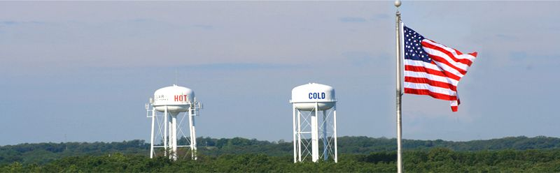 Hot and Cold Water Towers in St. Clair, Missouri.