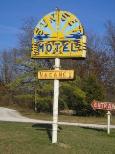 Sunset Motel sign in Villa Ridge, Missouri by Kathy Weiser-Alexander.