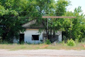 An old gas station in Warwick, Oklahoma by Kathy Weiser-Alexander.