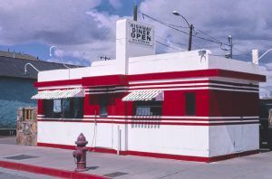 The Highway Diner on Route 66 in Winslow, Arizona by John Margolies, 2003.