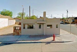 The old Highway Diner on route 66 in Winslow, Arizona has been repainted and appears to serve as a business building today. Photo courtesy Google Maps.