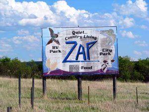 Zap, North Dakota sign by David Mart, North Dakota State University