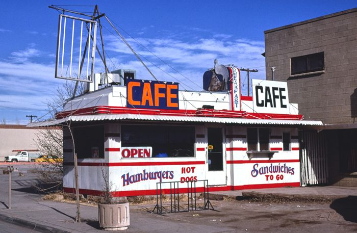 The Stork Cafe was an original Valentine's Diner in Winslow, Arizona, This 9-stoolValentine Dinerwas once located atat 114 East Third Street in Winslow, Arizona. Originally owned by Cecil McCormick and opened as the Birthplace Diner in about 1950. Through the years, it was called the Pit Diner, One Spot Grill, the Stork Cafe, and the Santa Fe Diner. Reports suggest that it was sold and moved to Oregon.Photo by John Margolies, 1979.