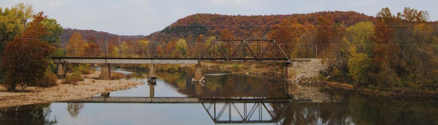 Railroad bridge over the Gasconade River between Arlington and Jerome, Missouri by Kathy Weiser-Alexander.