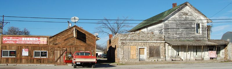 Buildings along Route 66 in Avilla, Missouri by Kathy Weiser-Alexander.