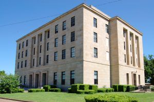 The United States Courthouse and post office was built in Cairo, Illinois in 1942. Photo by Kathy Weiser-Alexander.