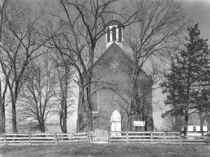 The Caledonia P{resbyterian Church in about 1939 by the Historic American Buildings Survey.